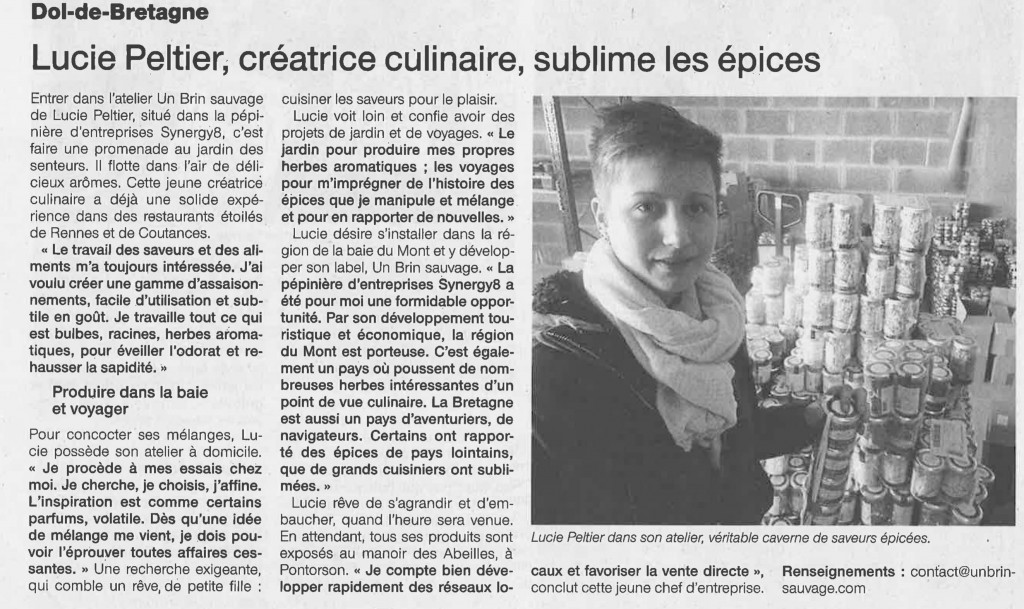 Ouest France Lucie Peltier Creatrice culinaire